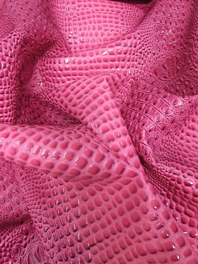 Florida Gator 3D Embossed Vinyl Fabric / Bubble Gum / Sold By The Yard/DuroLastTM