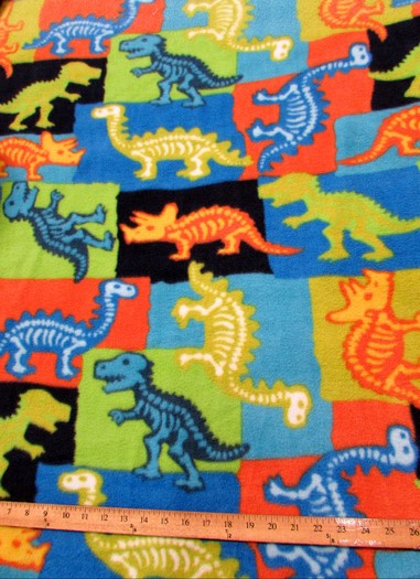 Fleece Printed Fabric / Dinosaur Fossils Multi-Color / Sold By The Yard