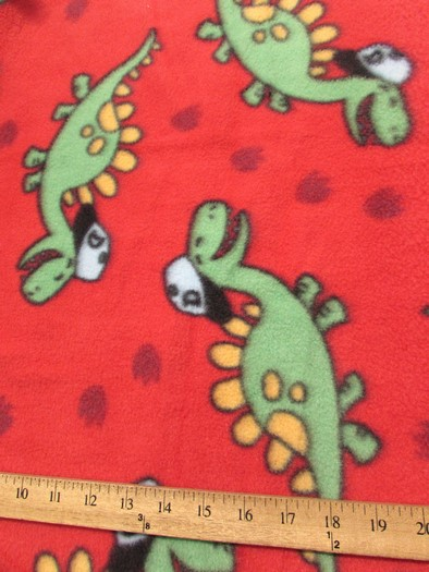 Fleece Printed Fabric / Playful Dinosaurs Red / Sold By The Yard