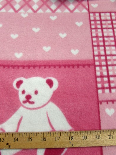 Fleece Printed Fabric / Teddy Bears Pink / Sold By The Yard