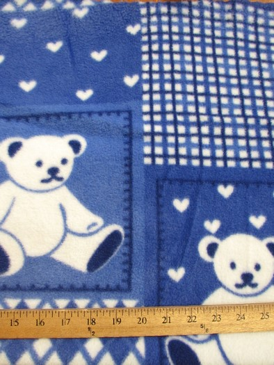 Fleece Printed Fabric / Teddy Bears Royal Blue / Sold By The Yard
