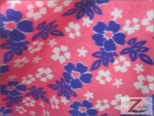 Fleece Printed Fabric Flower / Pink/Purple/White Wild Flowers / Sold By The Yard