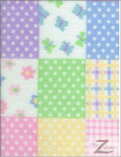 Fleece Printed Fabric Flower / Quilt / Sold By The Yard
