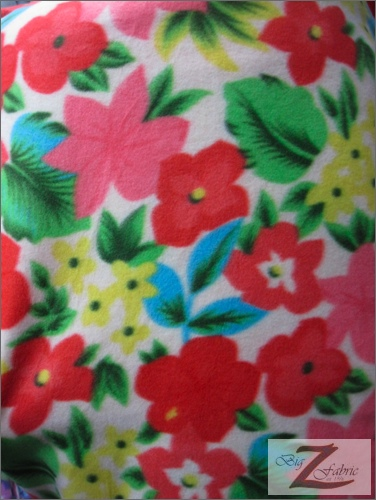 Fleece Printed Fabric Flower / White Wild Flowers / Sold By The Yard