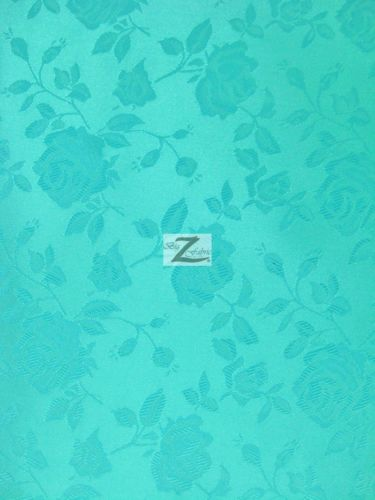 Floral Rose Jacquard Satin Fabric / Aqua / Sold By The Yard