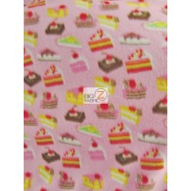 Fleece Printed Fabric / Cupcake Pastries Pink / Sold By The Yard
