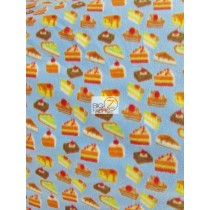 Fleece Printed Fabric / Cupcake Pastries Sky Blue / Sold By The Yard