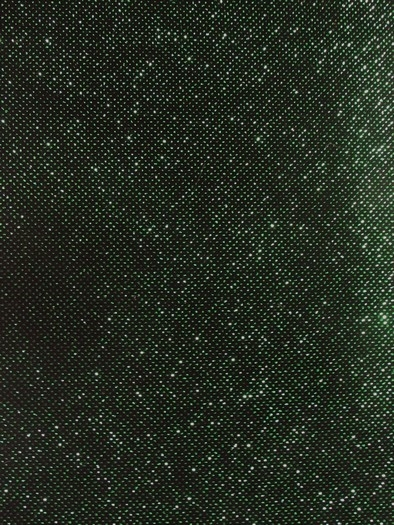 Glitter Sparkle Stretch Velvet Fabric / Kelly Green/Black / Sold By The Yard