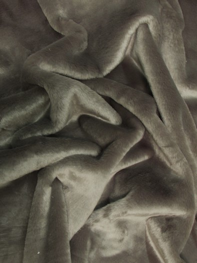 Half Shag Faux Fur Fabric (Beaver)(Knit Backing) / Pewter / Sold By The Yard/EcoShagTM