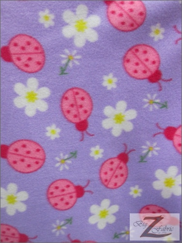 Fleece Printed Fabric Lady Bug / Lavender / Sold By The Yard