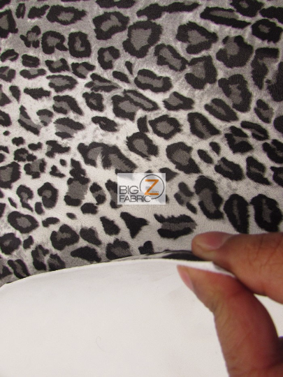 Vinyl Faux Fake Leather Pleather Embossed Leopard Cheetah Fabric / Gray Mix / Sold By The Yard