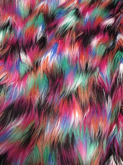 Multi-Color Alpaca Faux Fur Fabric / Rainbow 1 / Sold By The Yard