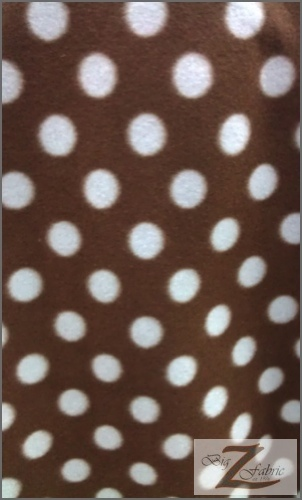 Fleece Printed Fabric Polka Dot / Brown/Sky Blue Dots / Sold By The Yard