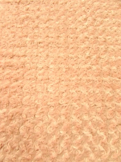 Minky Rose/Rosette Floral Baby Soft Fabric / Peach / Sold By The Yard