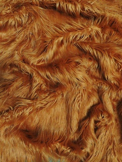 Faux Fake Fur Solid Gorilla Animal Long Pile Fabric / Amber / Sold By The Yard/EcoshagTM