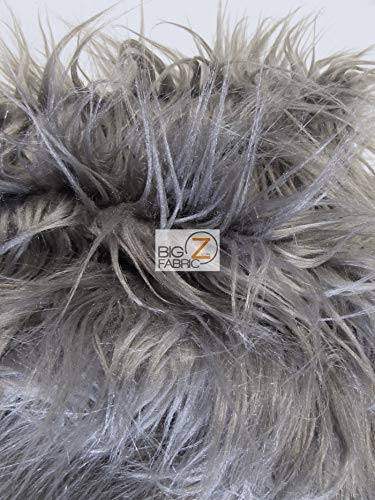 Faux Fake Fur Solid Gorilla Animal Long Pile Fabric / Grey Frost / Sold By The Yard/EcoshagTM