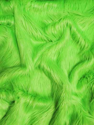 Faux Fake Fur Solid Gorilla Animal Long Pile Fabric / Lime / Sold By The Yard/EcoshagTM