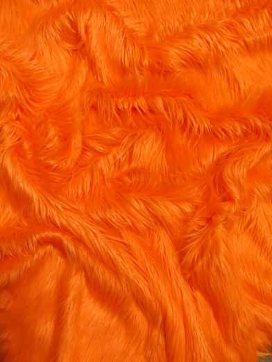 Faux Fake Fur Solid Gorilla Animal Long Pile Fabric / Orange / Sold By The Yard/EcoshagTM
