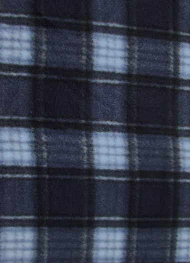 Tartan Plaid Polar Fleece Fabric / Navy/White / Sold By The Yard