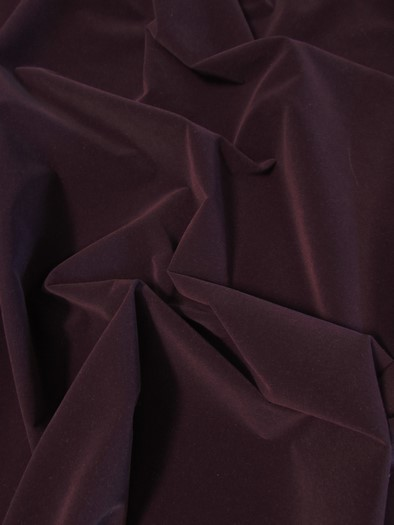 Upholstery Grade Solid Flocking Velvet Fabric / Dark Purple / Sold By The Yard