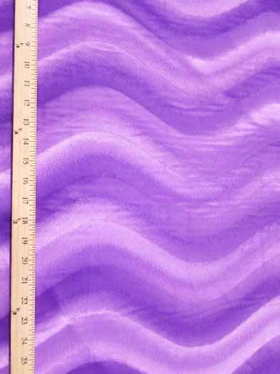 Velboa Faux Fake Fur Solid Wavy Short Pile Fabric / Purple / Sold By The Yard