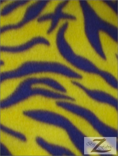 Fleece Printed Fabric Animal Zebra / Yellow/Purple Stripes / Sold By The Yard