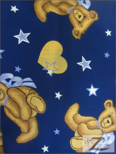 Poly Cotton Printed Fabric Animal Star Teddy Bear / Navy Blue / Sold By The Yard